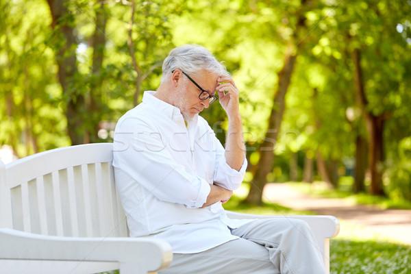 ストックフォト: シニア · 男 · 座って · 夏 · 公園