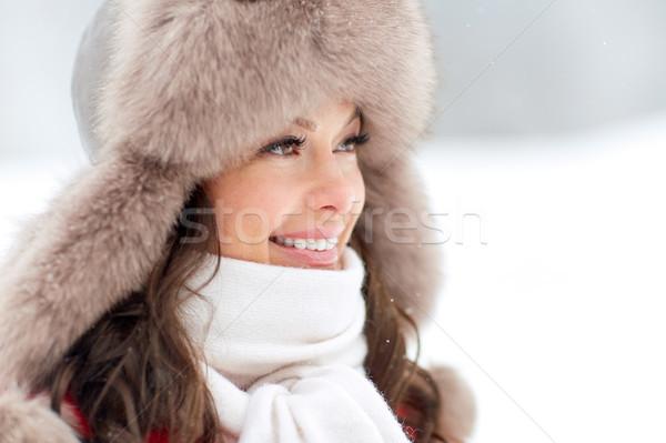 Gelukkig vrouw winter bont hoed Stockfoto © dolgachov