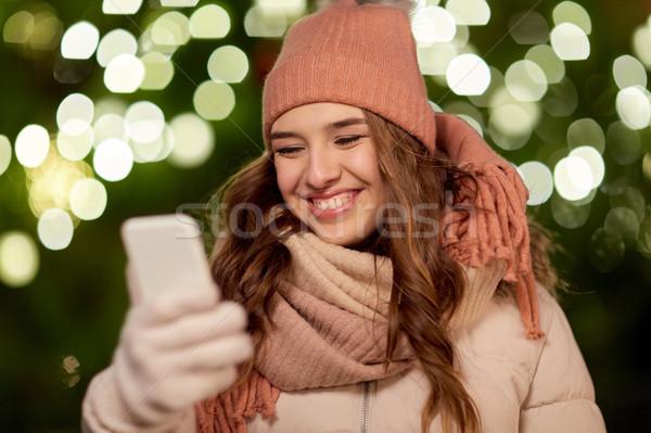 Feliz mujer Navidad vacaciones comunicación Foto stock © dolgachov