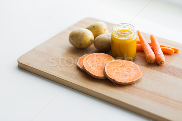 vegetable puree or baby food in glass jar Stock photo © dolgachov