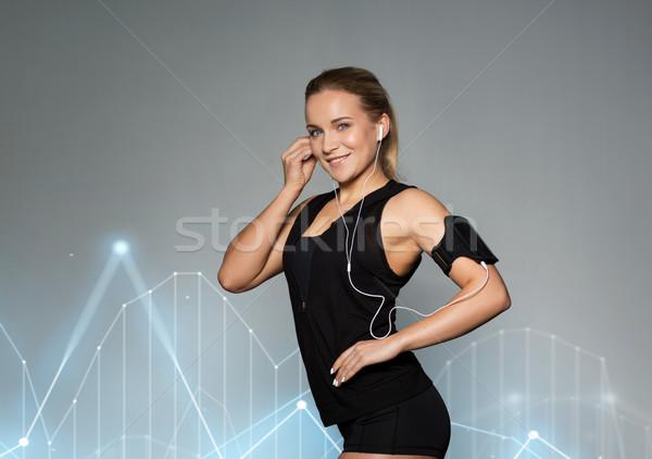 Vrouw smartphone gymnasium sport fitness Stockfoto © dolgachov