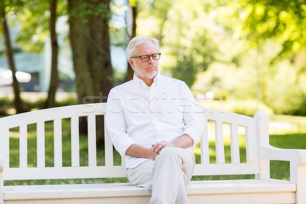 Szomorú idős férfi nyár park aggkor Stock fotó © dolgachov