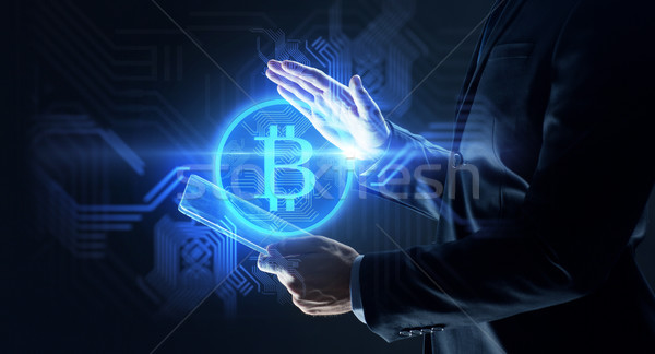 Empresário bitcoin holograma negócio futuro Foto stock © dolgachov