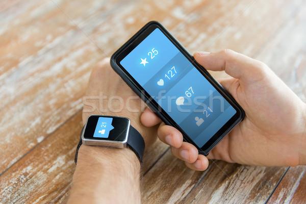 Kezek okostelefon okos óra közösségi média modern Stock fotó © dolgachov
