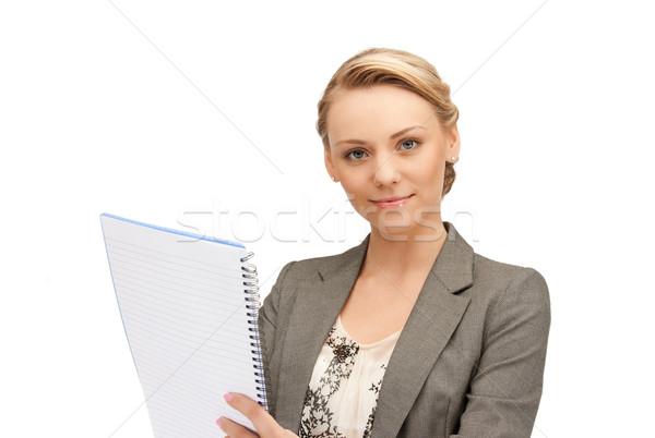 Stock fotó: Higgadt · nő · nagy · jegyzettömb · kép · boldog