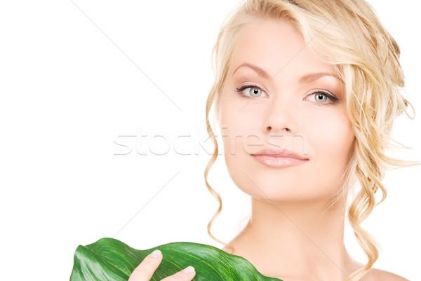 ストックフォト: 女性 · 緑色の葉 · 画像 · 白 · 健康 · 緑