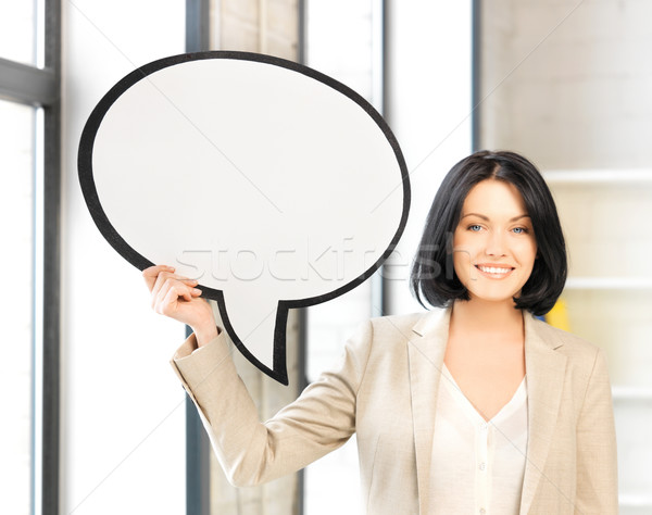 Stockfoto: Glimlachend · zakenvrouw · tekst · bubble · heldere · foto
