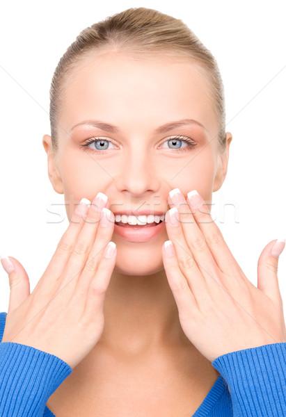удивленный женщину лицом ярко фотография белый женщину Сток-фото © dolgachov