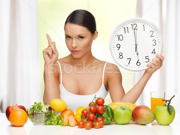 Frau groß Uhr Bild schöne Frau Küche Stock foto © dolgachov