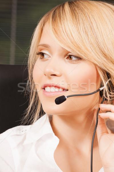 Kadın yardım hattı operatör kulaklık iş iletişim Stok fotoğraf © dolgachov