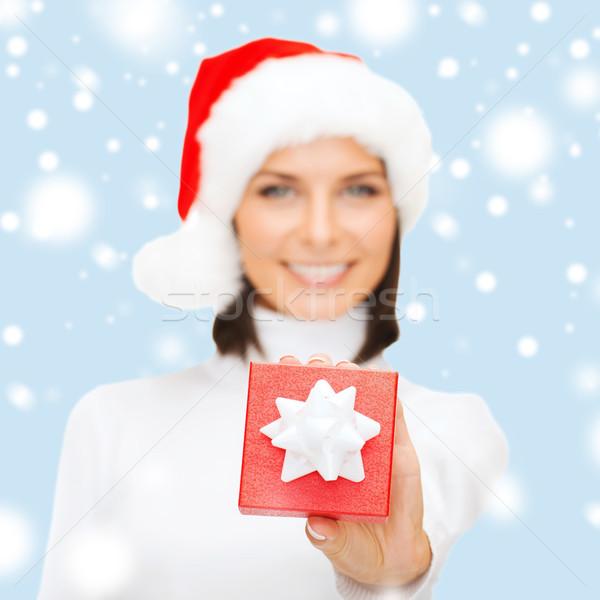Stockfoto: Vrouw · helper · hoed · klein · geschenkdoos