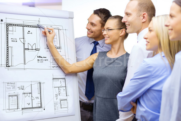 business team drawing bluepring on flip board Stock photo © dolgachov