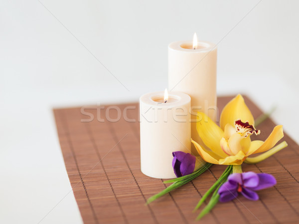 Velas orquídeas iris flores bambú spa Foto stock © dolgachov
