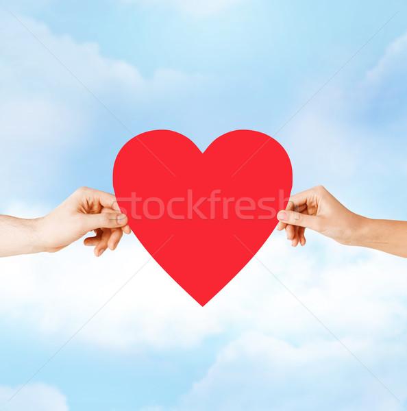 Casal mãos vermelho coração saúde Foto stock © dolgachov