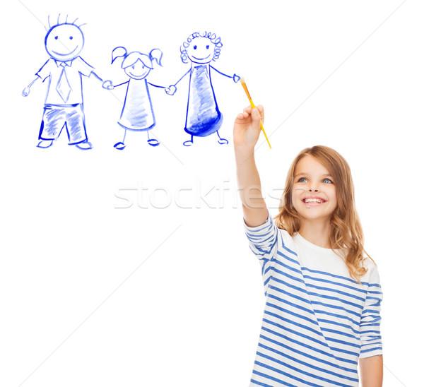 Little girl desenho escove retrato de família educação escolas Foto stock © dolgachov