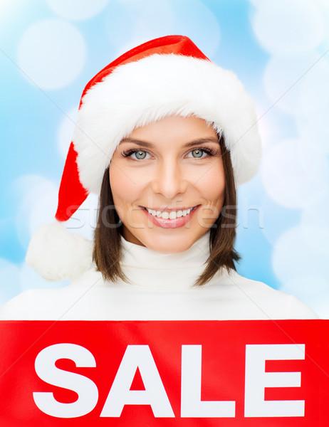 Sorrindo ajudante seis venda assinar Foto stock © dolgachov