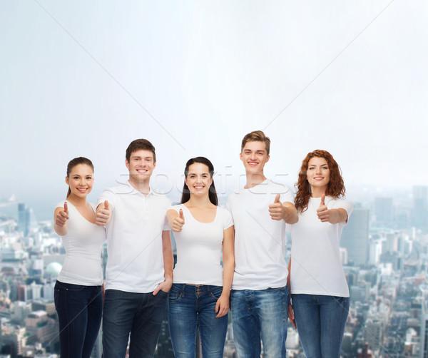 Stockfoto: Glimlachend · tieners · tonen · reclame · vriendschap