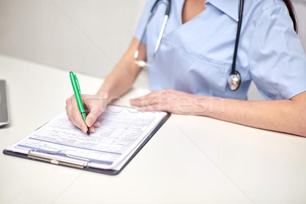 Foto stock: Feminino · médico · escrita · prescrição · saúde