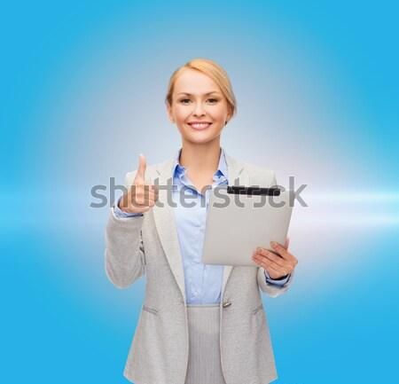 Sorridere imprenditrice cartella uomini d'affari istruzione Foto d'archivio © dolgachov