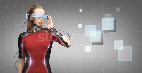 ストックフォト: 女性 · 未来的な · 眼鏡 · 人 · 技術 · 将来