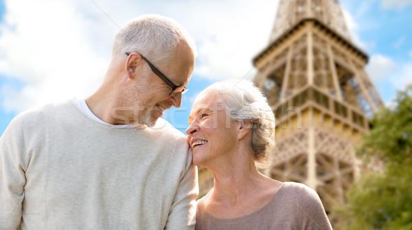 Mutlu Paris Eyfel Kulesi aile yaş Stok fotoğraf © dolgachov
