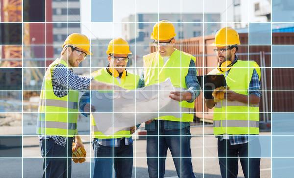 Costruttori blueprint business costruzione lavoro di squadra tecnologia Foto d'archivio © dolgachov