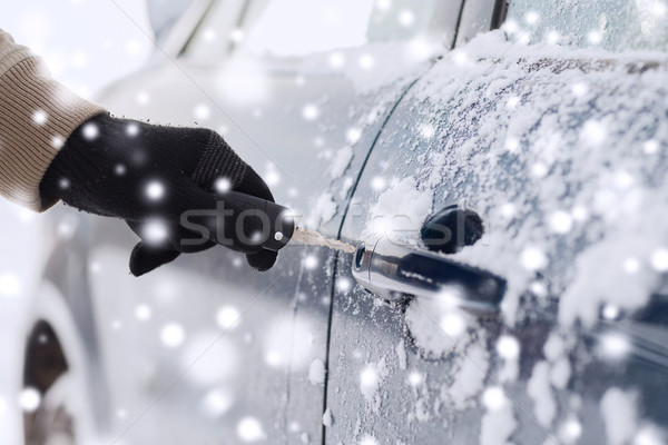 close up of man with car key outdoors Stock photo © dolgachov