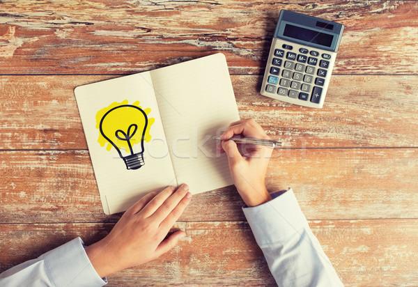 Stock fotó: Közelkép · kezek · számológép · notebook · üzlet · ötlet