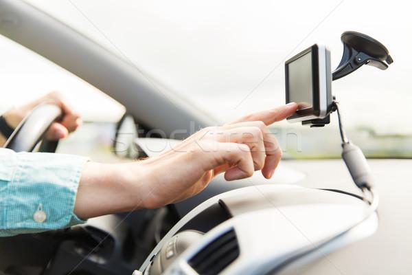Foto d'archivio: Uomo · GPS · guida · auto · trasporto