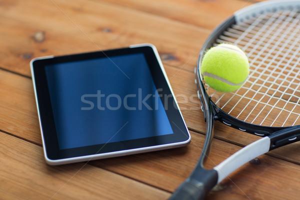 Tennisracket bal sport fitness Stockfoto © dolgachov