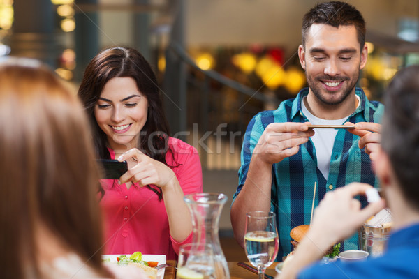Stock photo: happy friends taking picture of food at restaurant