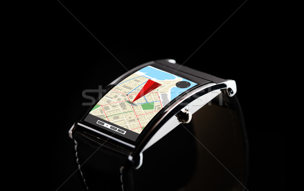 close up of black smart watch with gps navigator Stock photo © dolgachov