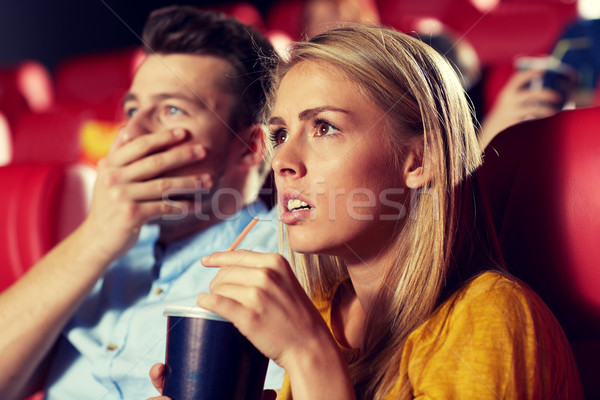 friends watching horror movie in theater Stock photo © dolgachov