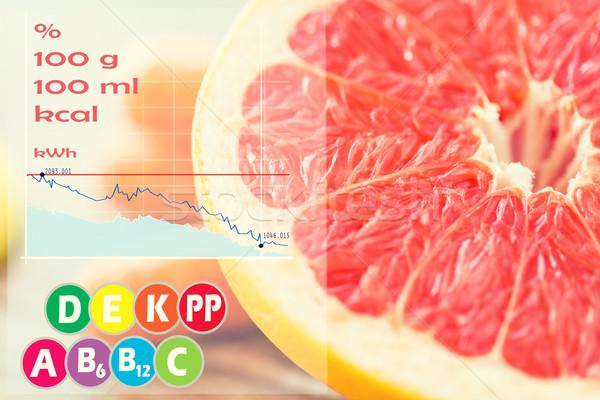 Közelkép friss lédús grapefruit szelet asztal Stock fotó © dolgachov