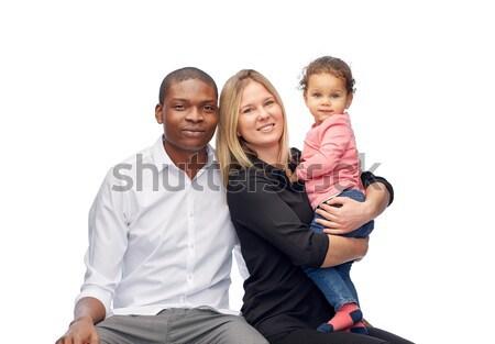 Feliz família pequeno criança crianças raça Foto stock © dolgachov