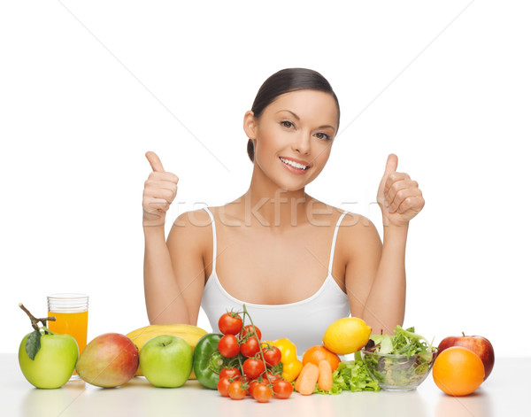 happy woman with fruits and vegetables Stock photo © dolgachov