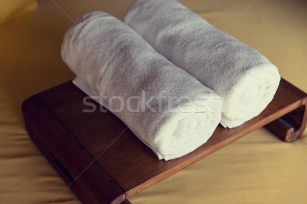 rolled bath towels at hotel spa Stock photo © dolgachov