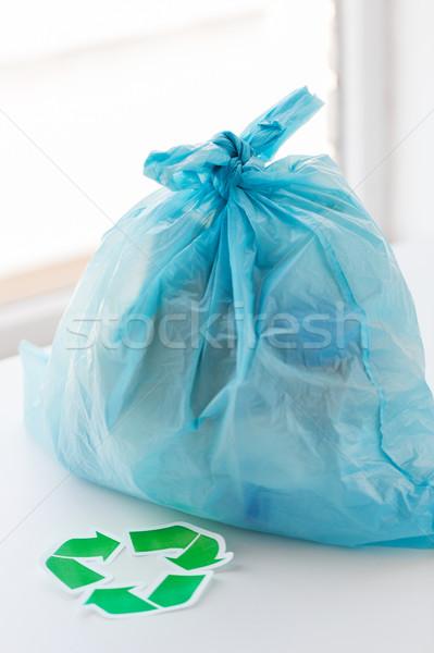 Stockfoto: Onzin · zak · groene · recycleren · symbool