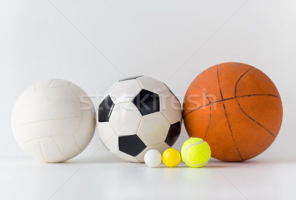 close up of different sports balls set Stock photo © dolgachov
