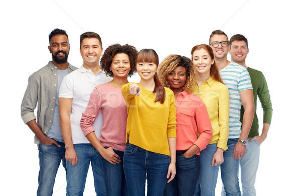 Internacional grupo de personas senalando diversidad elección Foto stock © dolgachov