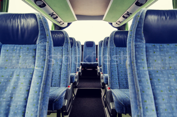 Reizen bus interieur vervoer toerisme weg Stockfoto © dolgachov