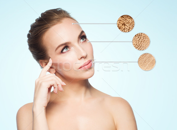 beautiful young woman face with dry skin sample Stock photo © dolgachov