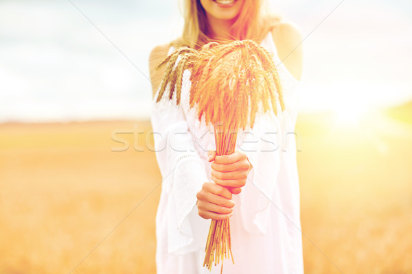 close up of happy woman with cereal spikelets Stock photo © dolgachov