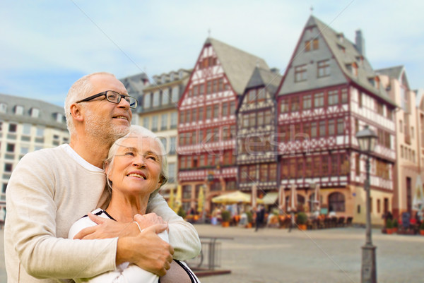 senior couple hugging over frankfurt background Stock photo © dolgachov