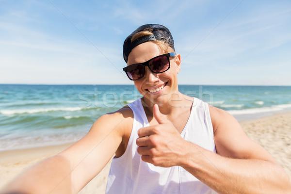 Foto stock: Hombre · gafas · de · sol · toma · verano · playa · vacaciones