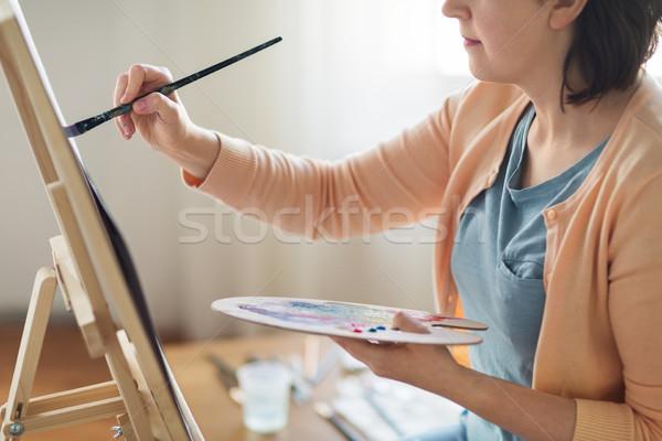 アーティスト パレット ブラシ 絵画 スタジオ 芸術 ストックフォト © dolgachov