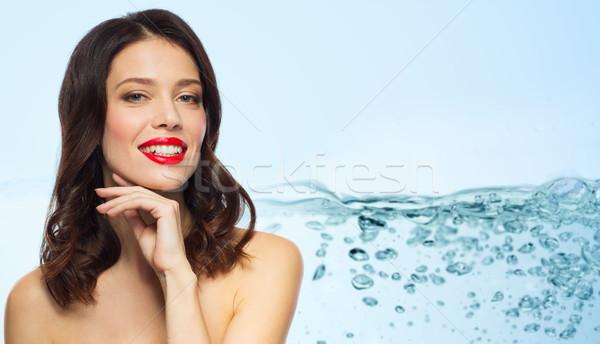 Mooie glimlachend jonge vrouw schoonheid make-up Stockfoto © dolgachov