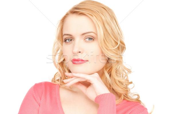 Stockfoto: Peinzend · vrouw · heldere · foto · mooie