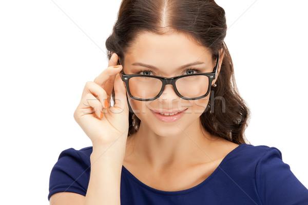 Nő szemüveg közelkép kép szépség szemüveg Stock fotó © dolgachov