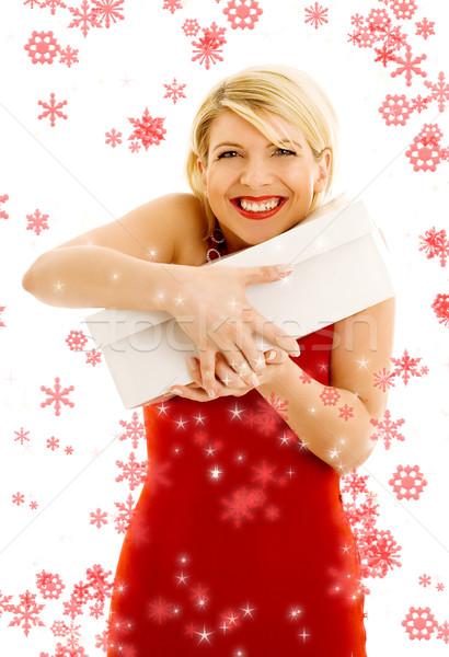 Hálás lány hópelyhek boldog tart fehér Stock fotó © dolgachov